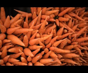 Stacks of Carrots in Valley Market
