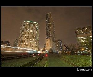 Chicago Trains Night