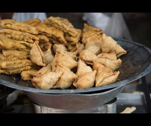 Spicy Samosas Being Sold