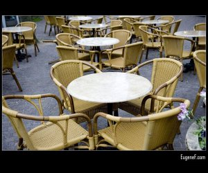 Empty Cafe Tables