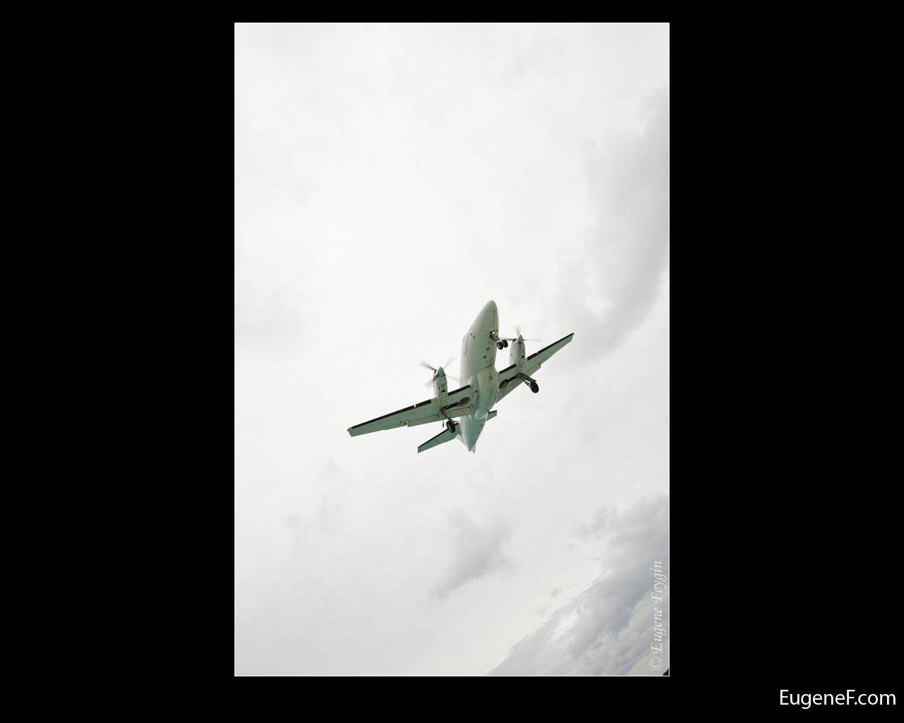 Cloudy Slanted Airplane
