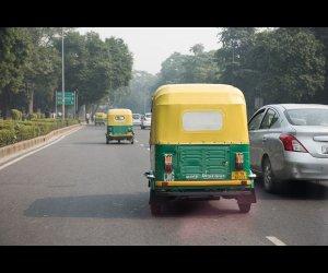 Autorickshaw on Busy Street