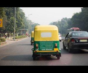 Autorickshaw on a Road in Delhi