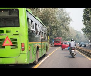Government Bus on Road