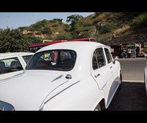 White Ambassador Parked